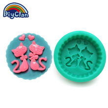 New arrival DIY silicone molds for cake decorating Cat Couples style chocolate mold soap mould essential candle moulds S0404XM25