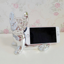 Hot Cute Home Decor Cell Phone Holder Ceramic 3D Animal Cute Bull Dog Desk Stand Bracket Home Decoration Accessories