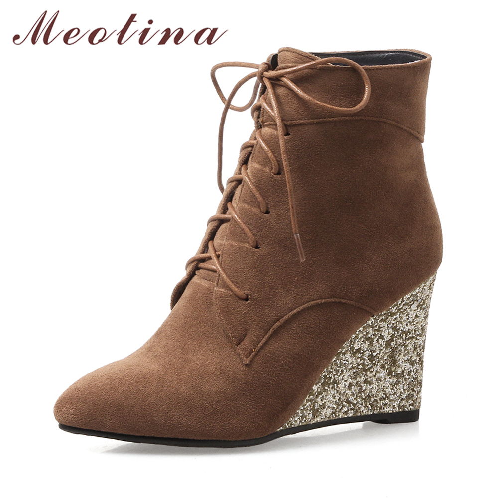Meotina Women Ankle Boots High Heels Wedge Shoes Winter Boots Lace Up Zip Velvet Shoes Bling Short Boots Heels Large Size 33-42 <br>