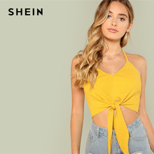 Buy SHEIN Knot Front Rib Knit Halter Crop Top 2018 Summer Halter Top Crop Cami Woman Ginger BackLess Sexy Vest