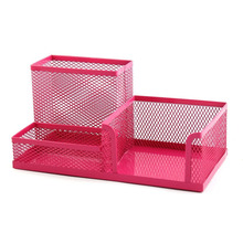Students Office Desk Mesh Style 3 Compartments Metal Pen Holder Office Desk Organizers (Rose red)(China)