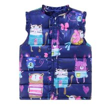 High Quality 2017 Spring Children's Jackets Sweet Cartoon Down Cotton Warm Girls Vest Kids Waistcoat Baby Girl Clothes 2-7 LT02