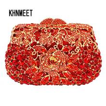 Red Clutch Evening Bag Female Feast pochette Purse Women Wedding Clutch Purse Box paquet Stylish Rhinestone Clutch Bag SC530