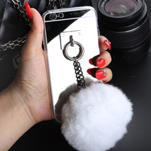 Black chain sliver  Metal Rope Mirror TPU Tassel case phone fur ball For samsung S4 S5 S6 edge  plus Note 3 4 5 Back Cover Case