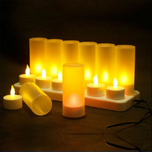Christmas Led Candles Rechargeable Tealight Yellow Light Candle Lamp LED Party Candles and Holders/chandelle mariage(China)