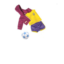 1 Set American Girl Doll Clothes and Soccer=1 Jersey+1 pair of shorts+1 sweater+1 blue soccer ball for 18 inch Dolls(China)