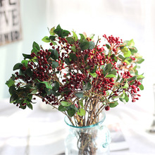 3Pcs/Lot Artificial Berries For Home Decoration Artificial Red Berries Stem Plants Foam Holly Berries With Green Leaves Cheap