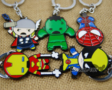 Super hero Hulk iron Man Thor Spider-Man Q version figure Metal keyring pendant  jewelry keychain pendant for Men women kids