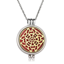 New Trendy Women's Creative Geometric Pattern Locket Perfume Diffuser Aromatherapy Necklace