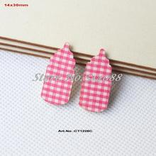 (100pcs/lot) Baby Shower Baby Bottle Crafts-Pink Checked  Fabric Topper Wood Back Bulk 30mm-CT1226C
