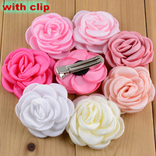 diy jewelry hair accessory 20pcs/lot colorful Camellia/rose flowers with Duckbill clip handmade florals fashon Children hairpin(China)
