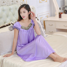 Pengpious 2017 Summer new plus sizes thin ice silk nightgown pregnant women clothing pajamas loose maternity fashion sleepwears