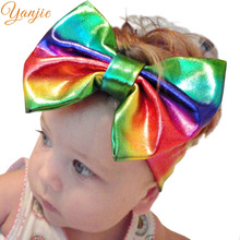 Glitter Metallic Bow Headband For Girls 2017 Solid Elastic Hair Bands Hair Accessories Kids 5'' Big Bow Headbands Hair Bows(China)