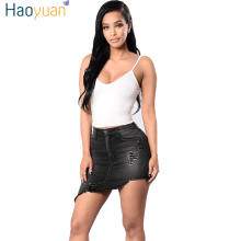 HAOYUAN 2017 Summer Denim Skirts Girl Stylish High Waist Elastic Casual Bodycon Tassel Women Sexy Short Jeans Mini Skirts