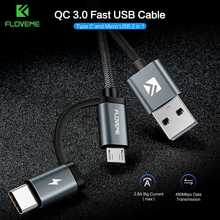 FLOVEME QC 3.0 Micro USB Type C Cable 2.8A Fast Charging Charger Cables Samsung S9 S8 Plus Xiaomi Huawei Mate 20 Phone Cable