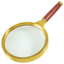 90mm Dia Gold Tone Metal Frame 10X Magnifying Glass Magnifier