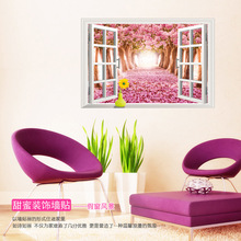 Sell like hot cakes here avenue 3 d fake window scenery wall stickers, PVC wall wall stickers