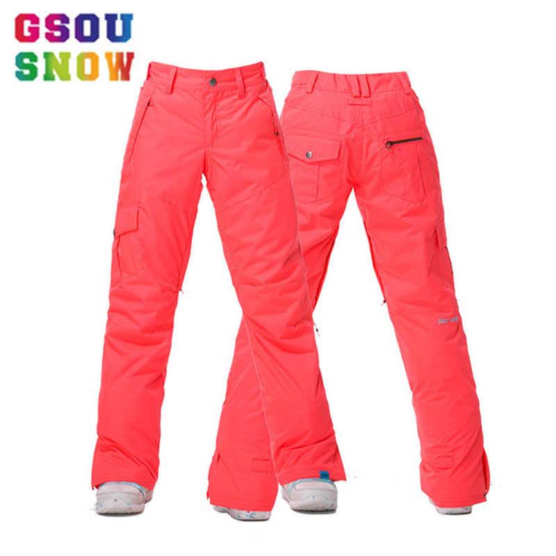 7110f161 GSOU SNOW Brand для женщин лыжные водонепроницаемые штаны сноуборд брюки  для девочек зимние уличные Лыжный спорт