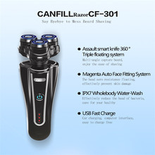 CANFILL usb Rechargeable Electric razor for men With Pop-up Trimmer 3D Floating Triple Blade Waterproof Shaver with Brush CF301