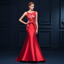 Red Robe de soiree Long Mermaid Evening Dress 2017 Scoop-Neck Sweep Trail Lace Evening Gowns Lace Up Back Vestido de festa