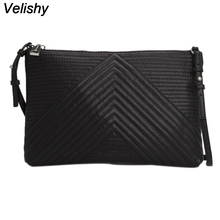 Velishy Luxury Soft PU Leather Women Messenger Bags Crossbody Bag Black Clutch Purse and Handbag Long Strap Main Dollar Price(China)