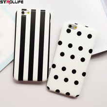 Fashion Black White Polka Dot Stripe Phone Cases For iPhone 7 Case For iPhone 7 7Plus 6 6S Soft Silicon Cover Couples Capa Coque(China)