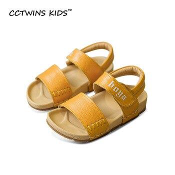 CCTWINS NIÑOS 2017 Sandalias Del Muchacho Del Verano Del Niño Niños Moda Cuero Genuino Plana Blanco Niña Marca Playa Zapato Negro B682