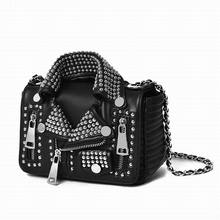 Ameiliyar Designers 2017 Women Leather Bags Handicraft Rivet Jacket Punk Style Messenger Bags Shoulder Crossbody Bag Gold Silver