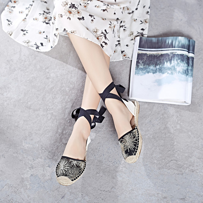 Canvas Summer Women's Espadrille Sandals Flats Ankle Strap Hemp Bottom Fisherman Women Shoes For 2018 SpringAutumn Women Loafer (20)