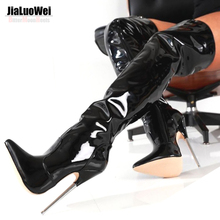 "JIaluowei 6 1/4"" ultra Metal High Heels Patent Leather Boots Pointed Toe Plain Stretch fetish Sexy unisex Long Thigh High Boots"