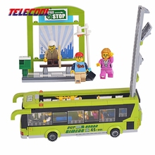 TELECOOL in the pvc BOX 1121 Toy City Green Bus Building Blocks Brick For Kids Educational Toy Compatible with lepin