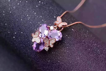 natural amethyst pendant S925 Sterling silver Natural gemstone Pendant Necklace romantic Butterfly flowers women party jewelry
