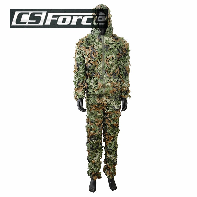 3D Leaf Camouflage Hunting Photography Zipper Disguise Ghillie Suit Woodland  Disguise Hide Yowie Training Military Clothes<br><br>Aliexpress