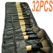 Best Quality Natural Goat Synthetic Hair Makeup Brushes Set Kit Pinceis De Maquiagens 32pcs Maquiagem Tools Roll Leather Bag