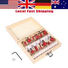 1 Set 12pcs Cemented Carbide Router Bits Woodworking Cutter Bit Set in Wood Case Box 8mm Shank Router Bit Set(China)