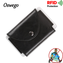 Oswego Luxury RFID Card Holder Antimagnetic PU Leather Metal Wallets Fashion Business Credit Card Coin Money Card ID Holder(China)