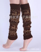 new 2017 2styles Snowflakes deer Knitted Thicken winter over gaiters loose leg warmers for women boot socks ankle leg cover