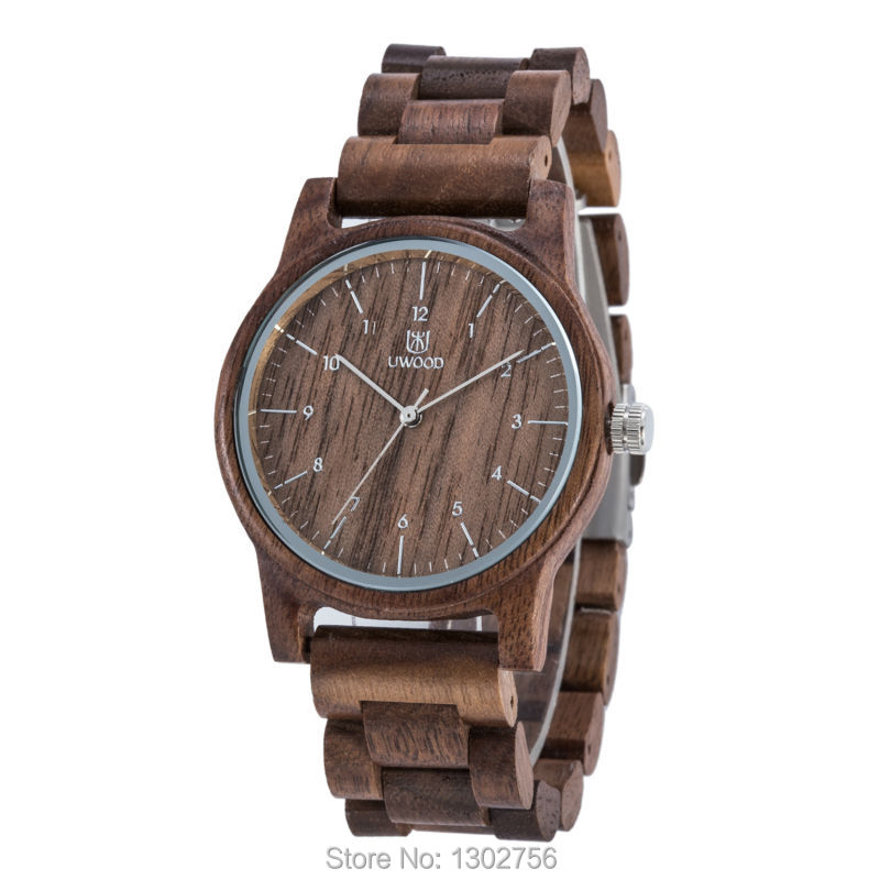 Uwood New Arrival Color Walnut Wood Watch For Men &amp; Women Fashion Gift Walnut Wooden MIYOTA Quartz Movement Analog Wristwatch<br>