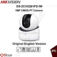 Hikvision mini wifi PT Camera HD720P CMOS PT IP Camera built in microphone and speaker SD Card DS-2CV2Q01FD-IW Original English