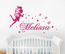 Removable Butterfly Angel fairy and Stars mural, Baby girls Name wall sticker(China)