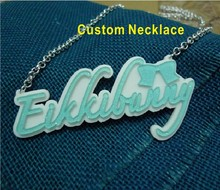 Neon Color Customized Acrylic Name Necklace For Women 2014(China)