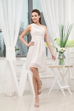 Chiffon A Line One Shoulder Sleeveless Knee Length Bridesmaid Dresses Wedding party dresses  robe de soiree