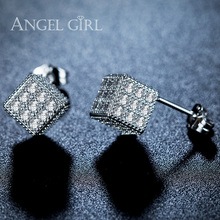 Angel Girl White Gold Color Three-dimensional Square Trendy Champagne CZ Crystal 7.5mm and White Cubic Zirconia Stud Earrings