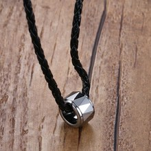 Mprainbow Mens Necklaces Tungsten Carbide Round Circle Pendant for Men Black Rope Chain Chokers Necklace Fashion Jewelry(China)