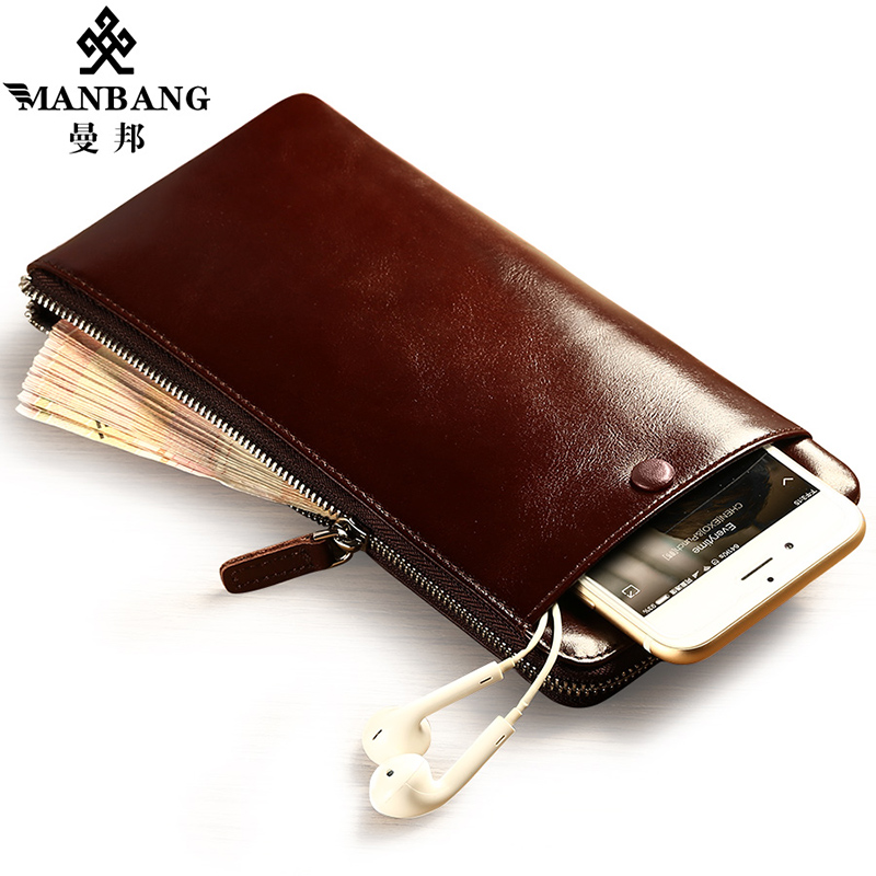 Manbang luxury men wallets long zipper clutch purse brand vintage cowhide wallet credit card holder<br>