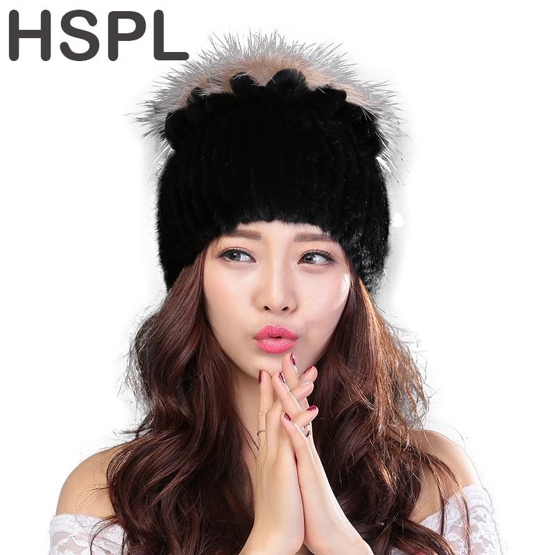 HSPL Fur Hat Guarantee  Natural Genuine Mink Fur Cap Women Knitted Black Beanie Hats For Winter Bone Fashion Warm Pineapple CapsÎäåæäà è àêñåññóàðû<br><br>