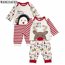 Christmas Infant Toddler Kids Baby Boys Girls Cute Penguin Deer Striped Long Sleeve Shirt+ Pants Set Clothes XMAS Gift