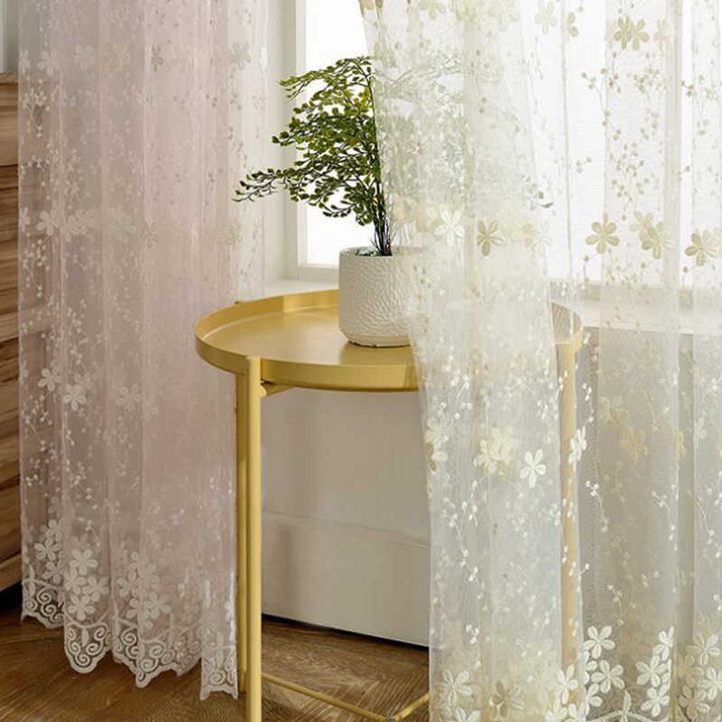 Curtain kitchen pastoral embroidery Elegant Country decor Curtains Soft Voile woven jacquard sheer floral curtains WP058D