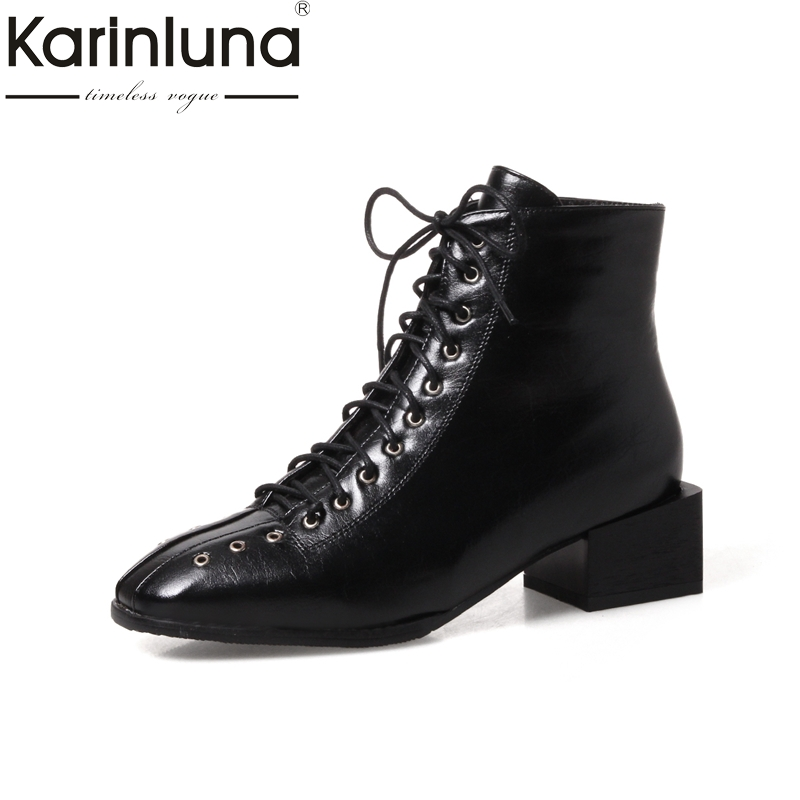 KARINLUNA  large size 34-43 fashion square toe women shoes woman med heels lace up ankle boots black martin boots white<br>