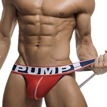 Buy New Arrival Brand Men Underwear Jocks Penis PUMP Jockstrap G-strings Men thong Sexy Male panties Briefs Gay men underwear